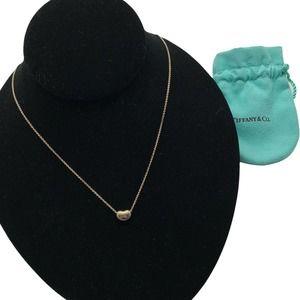 """Tiffany & Co Elsa Peretti Sterling Silver 9mm Small Bean Pendant 16"""" Necklace"""